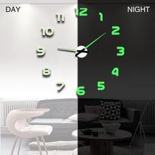 Настенные часы современный дизайн часы цифровые большие 3D DIY домашний декор светящиеся зеркальные наклейки Мода Новое поступление