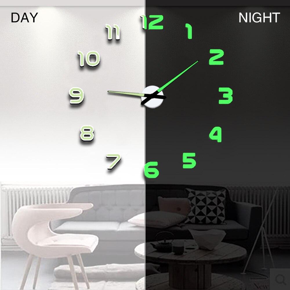 Wall Clock Clocks Modern Design Watch Digital Large Big 3D DIY Home Decor Luminous Luminova Mirror Sticker Fashion New Arrival(China)