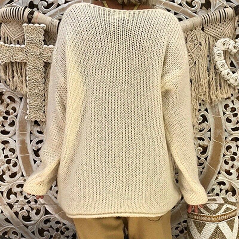 V-neck Gloves Knitted Irregular Long-Sleeve Sweater Women's Cothing