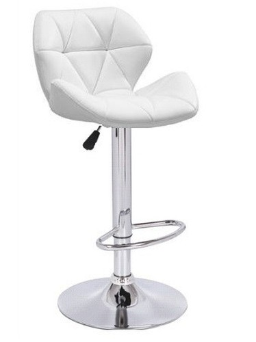 Stool ORLANDO (L), Chrome, Upholstered White