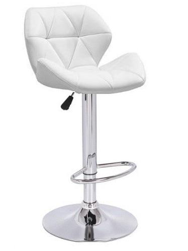 Stool ORLANDO (L), Chrome, Upholstered White