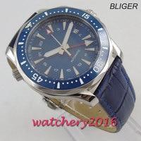 41mm bliger blau estéril dial gmt vidro de safira cerâmica moldura data marca superior luxo movimento automático relógio masculino