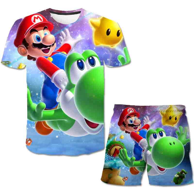 2021 Kids 3D Clothes Mario Boys Cartoon Outfits Baby Girls Summer Tees Suits 4-14 Years Children Clothing T-shirt + Shorts 4-14T