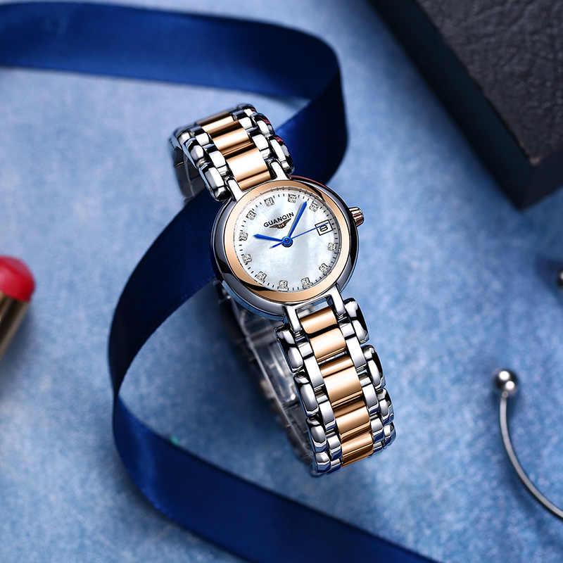 GUANQIN New Women Watch Luxury Pearl Dial Waterproof Dress Watch womn Girl Clock Ladies Fashion Quartz Watch Montre Femme 2019