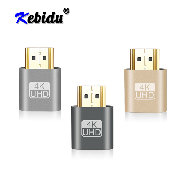 Kebidu מיני VGA וירטואלי תצוגת מתאם HDMI DDC EDID Dummy תקע בלי ראש Ghost תצוגת אמולטור מנעול צלחת 1920x1080 @ 60Hz