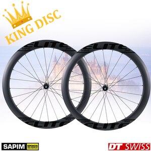Image 2 - ELITEWHEELS 700c مكبح قرصي عجلات الكربون DT السويسري 240 ل cyclocros الحصى طقم عجلات الدراجة الفاصلة أنبوبي لايحتاج حافة الملك