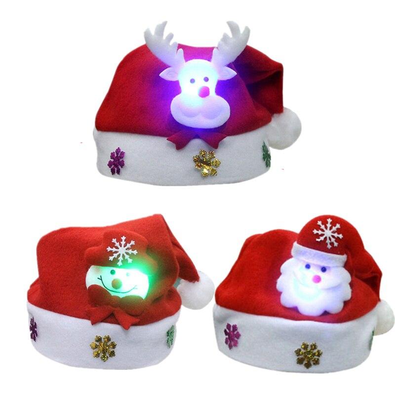 Christmas LED Light Hat Cartoon Santa Claus//Elk//Snowman Xmas Cap for Adult Kids