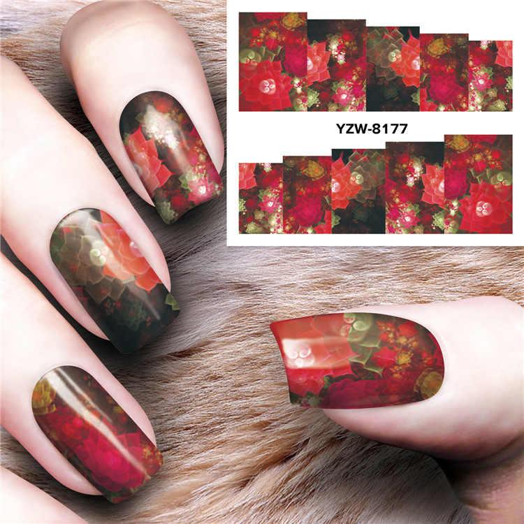 1Pcs Fashion DIY 3D Kuku Slider Magic Flower Stiker Stiker Geometri Desain Perekat Manicure Tips Nail Art Dekorasi NS-230