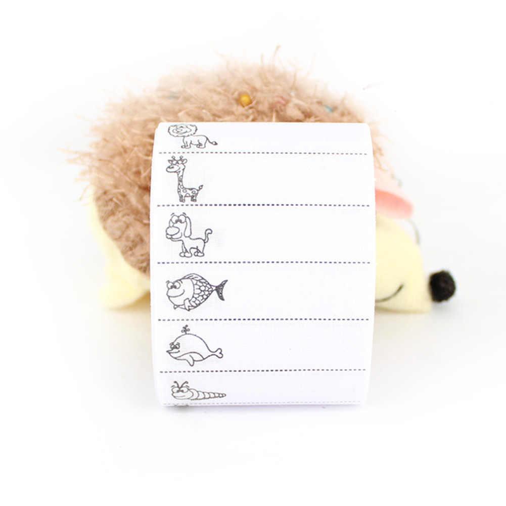 Bricolage manuscrit nom pâte maison couture autocollant Portable artisanat dessin animé motif Polyester décoratif couleur barre étiquettes blanc