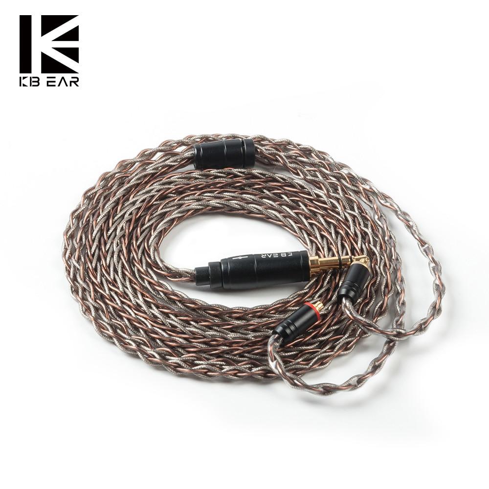 KBEAR Rhyme 8 ядро UPOCC монокристаллический медный кабель 2pin/MMCX/QDC/TFZ с 2,5/3,5/4,4 разъем наушников кабель KBEAR KS2