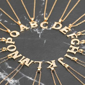 Naszyjnik listowy kobiety prosta europa i ameryka naszyjnik moda damska 26 angielska litera nazwa łańcuszek wisiorek naszyjniki biżuteria tanie i dobre opinie STAINLESS STEEL Unisex Wisiorki CN (pochodzenie) TRENDY Łańcuszek typu O Metal other Na imprezę pendants for women jewelry for women