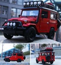 Modelo de coche de aleación moldeado a presión para niños, Toyota FJ40 SUV a escala 1/24, juguetes con puertas ajustables, modelo de coche para niños, regalos de navidad