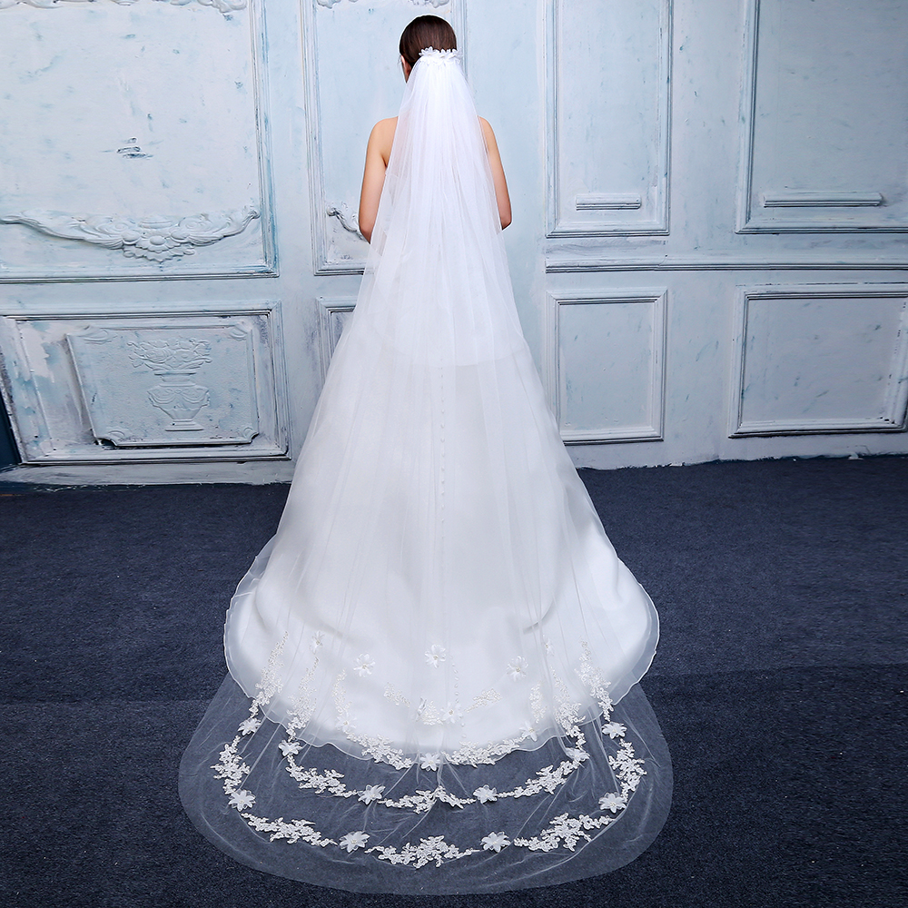 Elegant Woman Two Layers Chapel Veil Soft Tulle 3d Flower With Lace Edge Veils Velo De Novia Wedding Dress Accessories With Comb