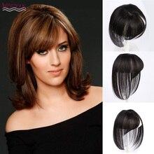 HOUYAN, черные, коричневые, настоящие человеческие волосы, 3D челка на клипсах, 100% человеческие волосы, челка на клипсах, один кусок, стриженый парик с челкой