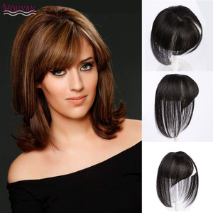Image 1 - Houyan 黒ブラウン本物の人間の髪 3D 前髪クリップ前髪 100% 人毛前髪クリップワンピース striaght フリンジかつら