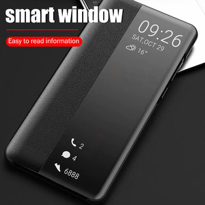P30 Pro Leather Case For Huawei Honor 9 10 20 8x Mate P 30 20 10 Lite Pro Plus Smart 2018 2019 Luxury Clear View Flip Cover Case(China)