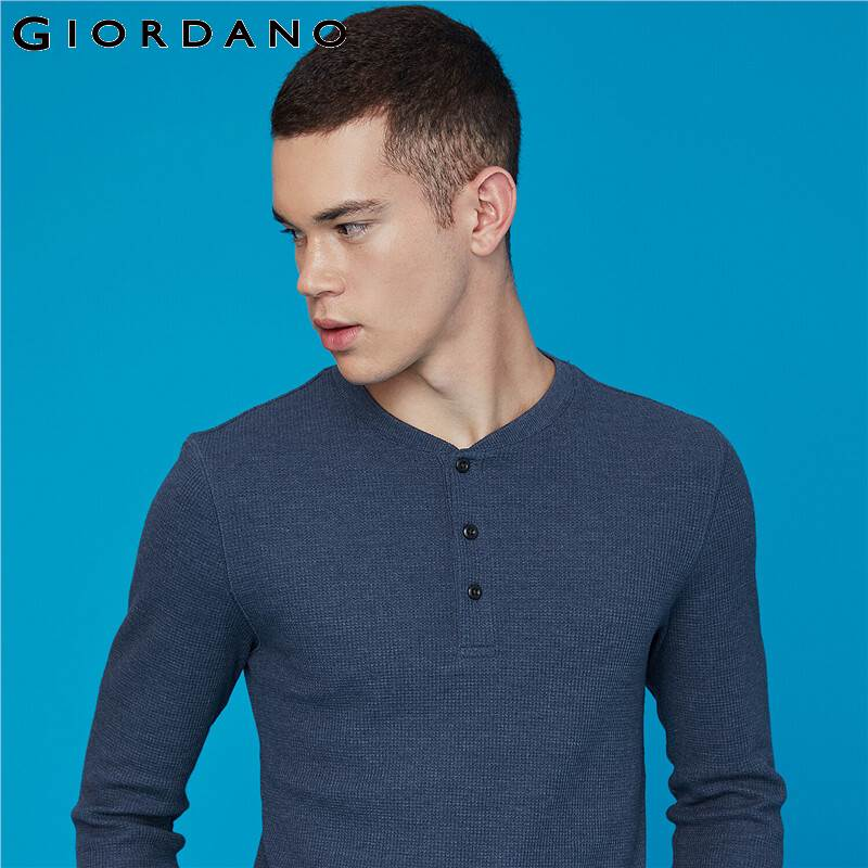 Giordano Men T Shirt Waffle Henry Collar T-Shirt Long Sleeve Slim Fit Tops For Men Camisetas Hombre Manga Larga 01029795