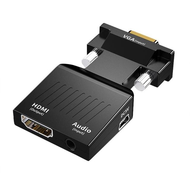 VGA to HDMI Adapter Video Audio Converter with Audio Support 1080P ABS Consumer Electronics Accessories 62x34x15.5mm
