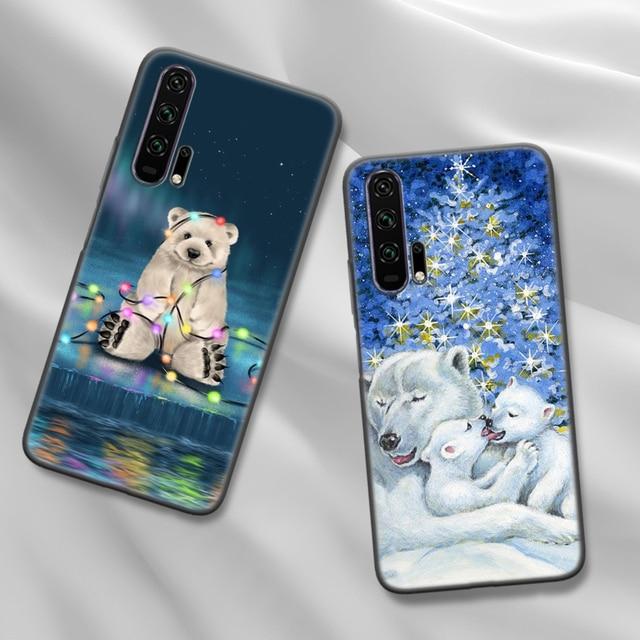 Housse pour Honor 9C 9S 9A 8X 9X 10 Lite 20 Lite 20 Pro 8A 2020 Prime 20S Play Phone Fundas mignon ours noël