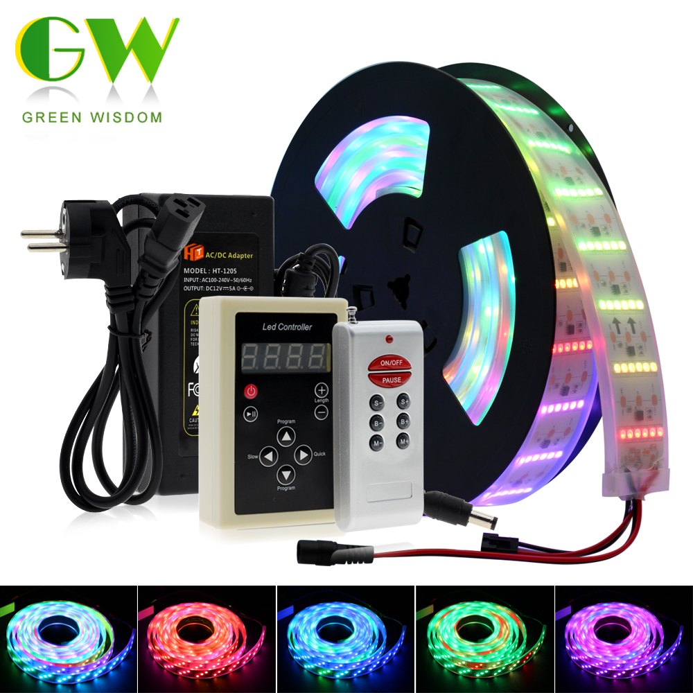 6803 1903 IC Dream Color RGB LED Strip Light Flowing Water Light 5050 Color Changeable Strips+133 Program RF Controller+Adapter.