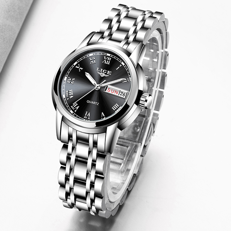 LIGE 2020 New Women Watches Top Brand Luxury Stainless Steel Strap Wristwatch For Women Casual Clock Stylish Quartz Ladies Watch
