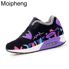 Moipheng Womens Shoes Winter Trainers Platform Red Sneakers Wedges Plush Ladies Casual Shoes Zapatillas Chunky Mujer Plataforma