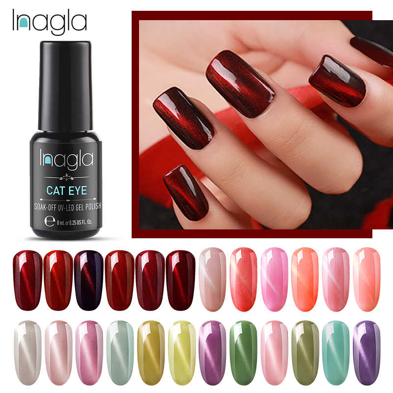 Inagla Anggur Merah Mata Kucing Rendam Off Base Top Coat Cat Kuku Gel Lacquer 8 Ml Jade Mata Kucing Manikur tahan Lama Warna Kuku Gel