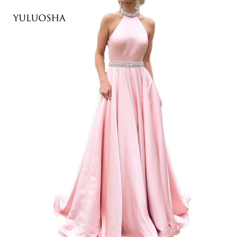 YULUOSHA Luxury Rhinestones Pink Evening Dress Halter Sleeveless Backless Long Evening Pageant Dress Formal Gown Robe De Soiree