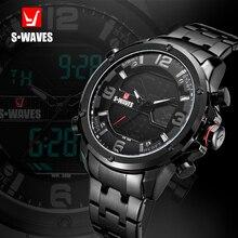 S waves podwójny wyświetlacz zegarka mężczyzna wodoodporna stal nierdzewna zegarek na co dzień mężczyzna wojskowy LCD moda zegarek kwarcowy Relogio Masculino