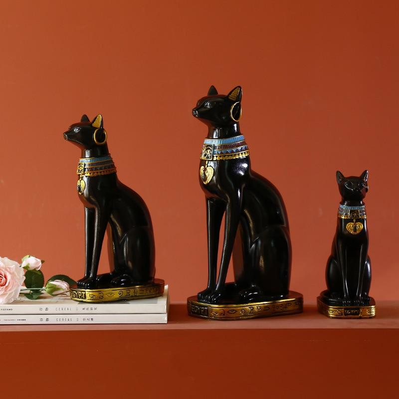 Resin Bastet Cat Crafts Egyptian Cat Figurine Animal Sculpture Home Office Desktop Decoration Gift Lucky Cat  Home Decor
