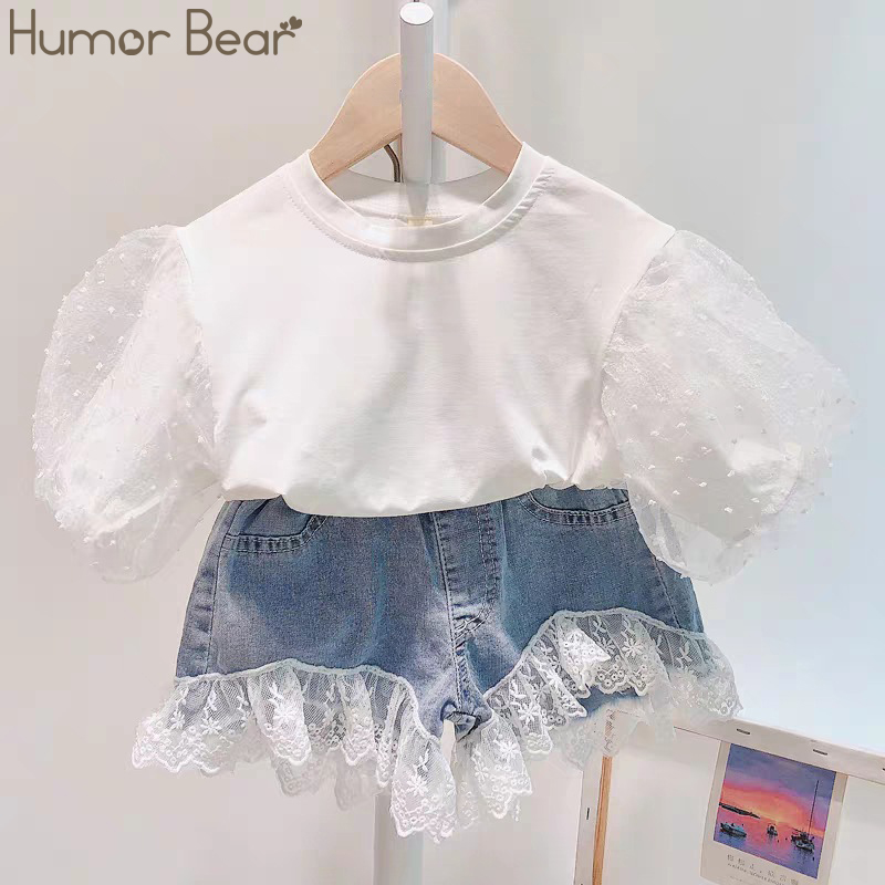 Humor Bear Summer Baby Girl Clothing Sets Children Clothes Bubble Sleeve Top +Lace Stitching Denim Shorts 2Pcs Toddler Outfits