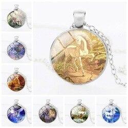 Meu pequeno colar unicórnio unicórnio tempo pedra pingente colar pingente ornamentos para crianças