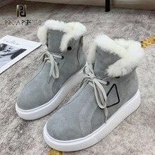 Inverno mais veludo botas de neve quente vaca camurça forro de lã real rendas-up toe redondo botas designer marca de luxo sapatos femininos 2020