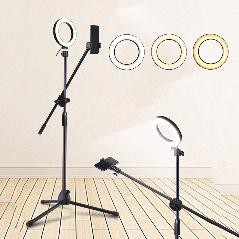 LED Fill Light Ring Lamp Adjustable Phone Photography Dimmable Beauty Shooting Stand Boom Arm Photo Studio Kits for Live video