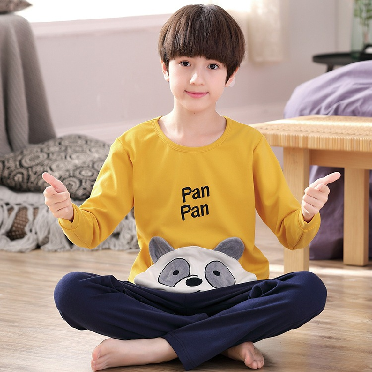 CHILDREN'S Pajamas BOY'S Pure Cotton Long Sleeve Spring And Autumn Summer Little Boy Big Boy Cotton Cartoon Tracksuit Thin Set