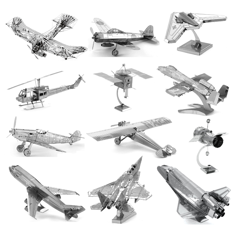 Cheap 3D Metal Puzzle Fighter Aircraft Model Sets DIY Laser Cut Puzzles Jigsaw Model Educational Toys For Adult Children Kids