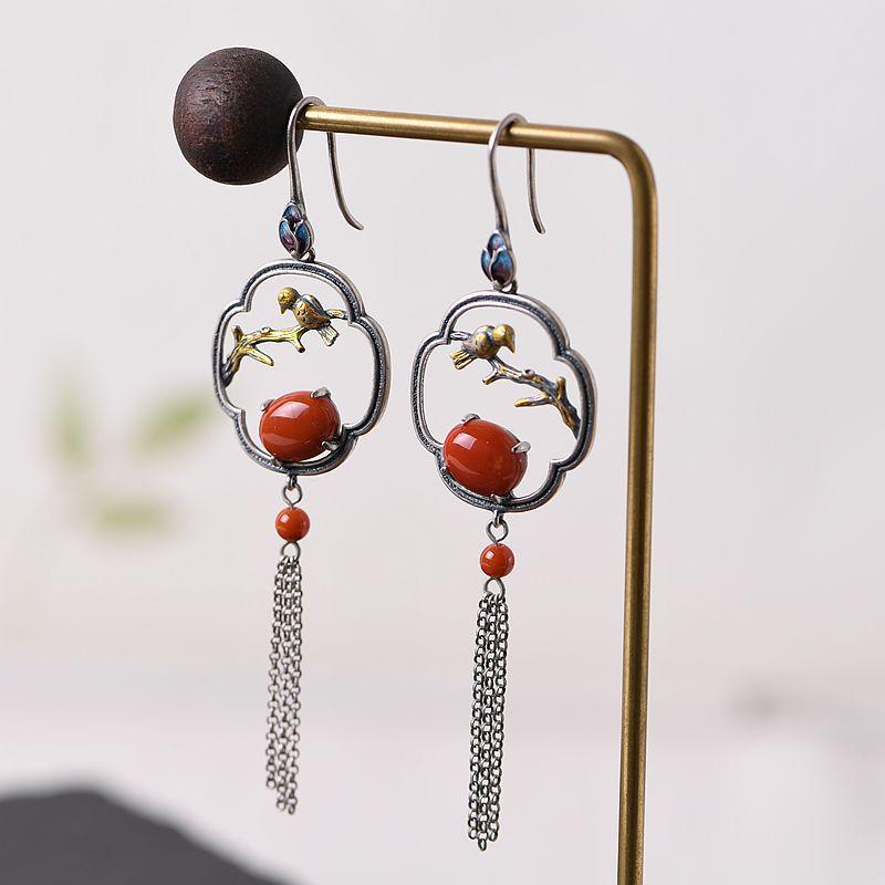 V. YA S925 boucles d'oreilles en argent pour les femmes 925 en argent Sterling Style chinois Vintage émail boucles d'oreilles Fine bijoux