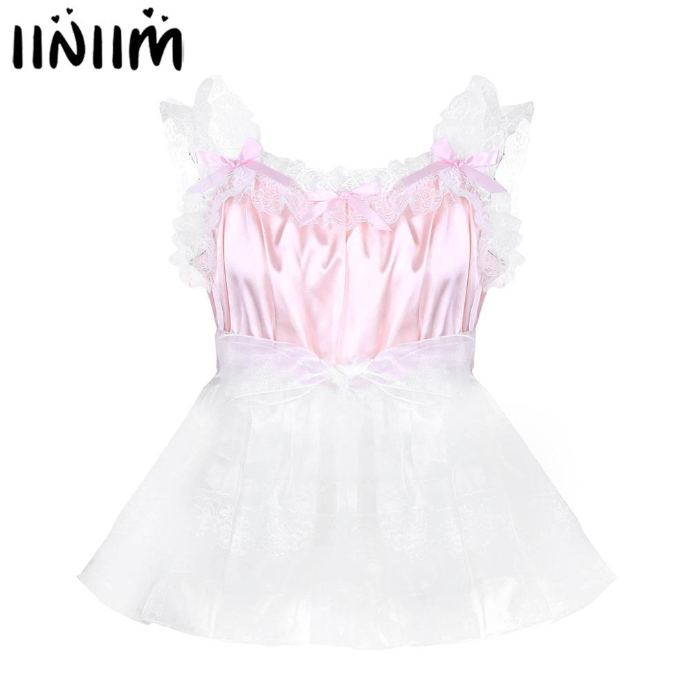 Adult Baby Mens Sissy Babydoll Crossdress Ruffled Lace Straps Tulle Dress With Waist Belt Gay Male Clubwear Cosplay Costumes
