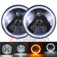 Automobiles LED Front Driving Headlights Hi Lo Beam Angel Eye Projector Light For Jeep Hummer Motorcycle