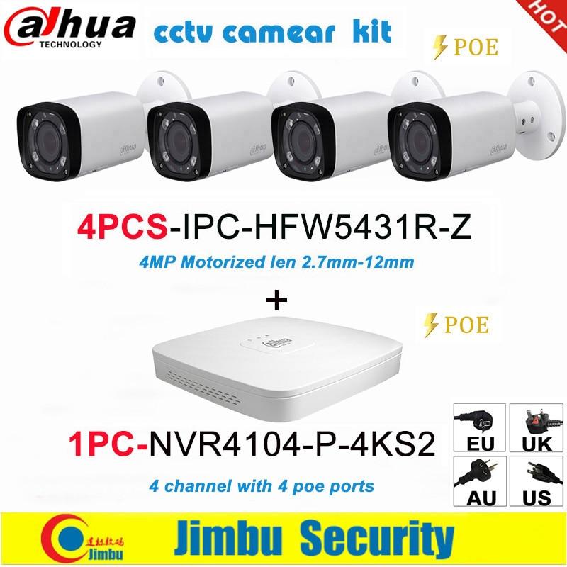 Dahua IP surveilliance system NVR kit  4CH 4K video recorder NVR4104 P 4KS2 & Dahua 4MP IP camera 4pcs IPC HFW5431R ZSurveillance System   -