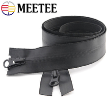 2pc Meetee 5# 20-100cm Waterproof Invisible Zippers Open End Double Slider for Sewing Reverse Outdoor Jackets Clothing Accessory