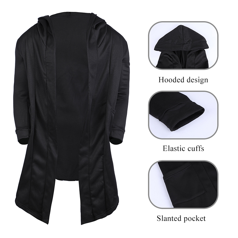 H8710f9d1ab874343aa9aae53460d8aa23 Vintage Men Autumn Winter Hoodies Jacket Long Cardigan Coat Casual Hip Hop Solid Pocket Jacket Hooded Outwear Veste Homme