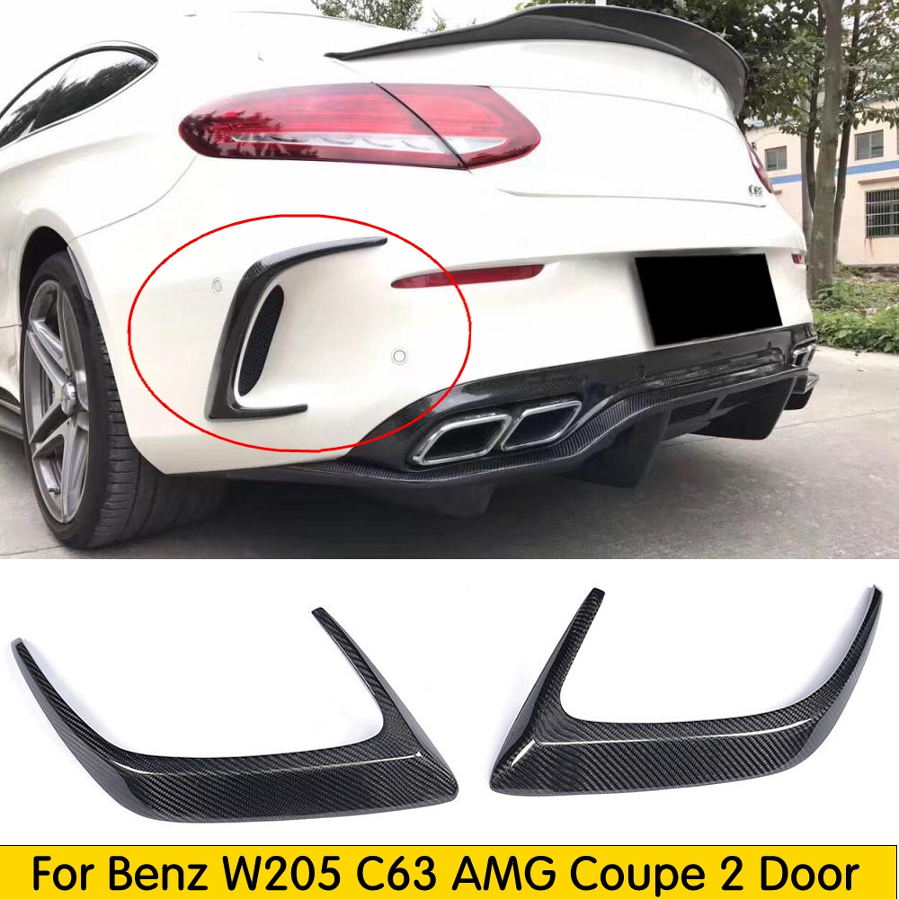 C Class Carbon Fiber /FRP Black Rear Bumper Trims Side Vents Spoiler for Mercedes Benz <font><b>W205</b></font> C63 <font><b>AMG</b></font> <font><b>C200</b></font> C260 C300 Coupe 15-17 image