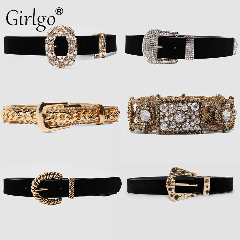 Girlgo Vintage Crystal ZA Belts For Women Female Deduction Side Gold Color Buckle Jeans Wild Belts Chain Accessories Jewelry