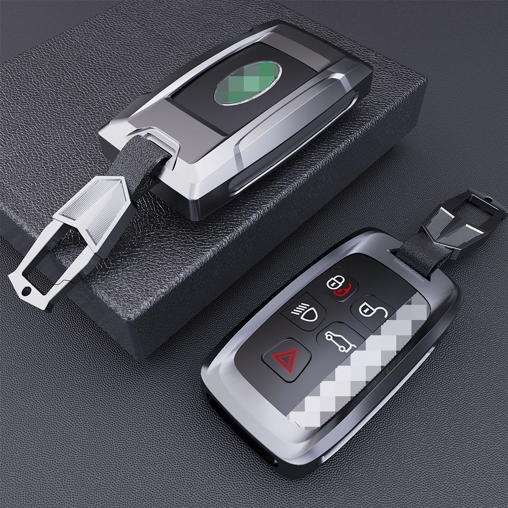 New Metal Car Key Case For Land Rover LR4 LR2 Discovery Rang Rover Sport Evoque 5 Buttons Smart Remote Fob Cover Auto Keychain