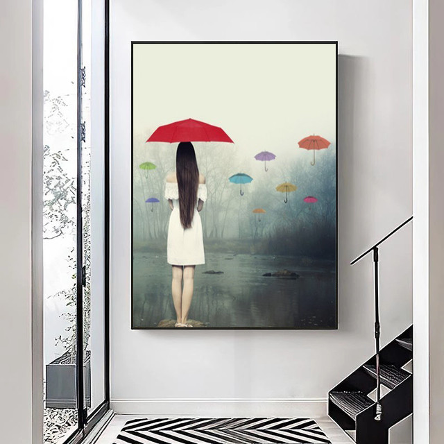 Woman with Umbrella In The Rain Painting Printed on Canvas 3