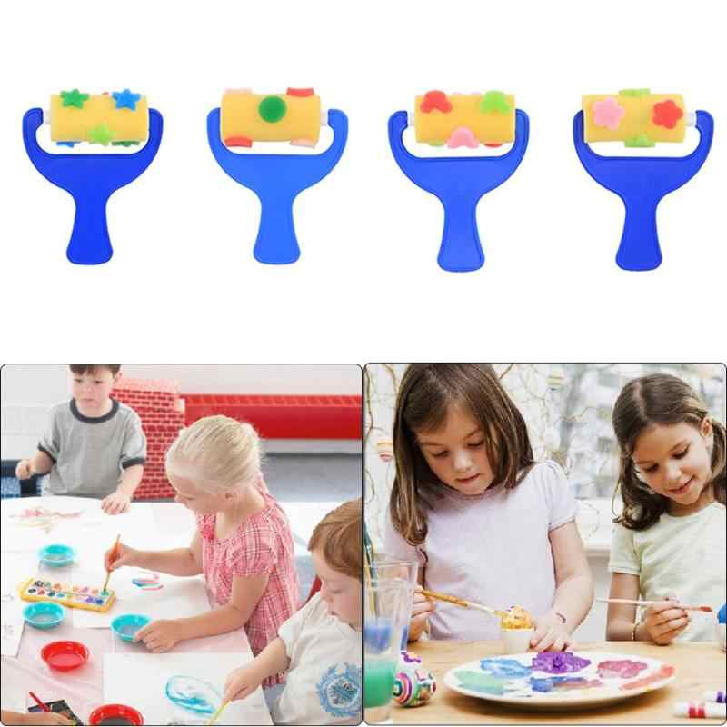 4//6 Pcs Rotate Spin Paint Drawing Sponge Brushes Kids DIY Flower Sponge Art