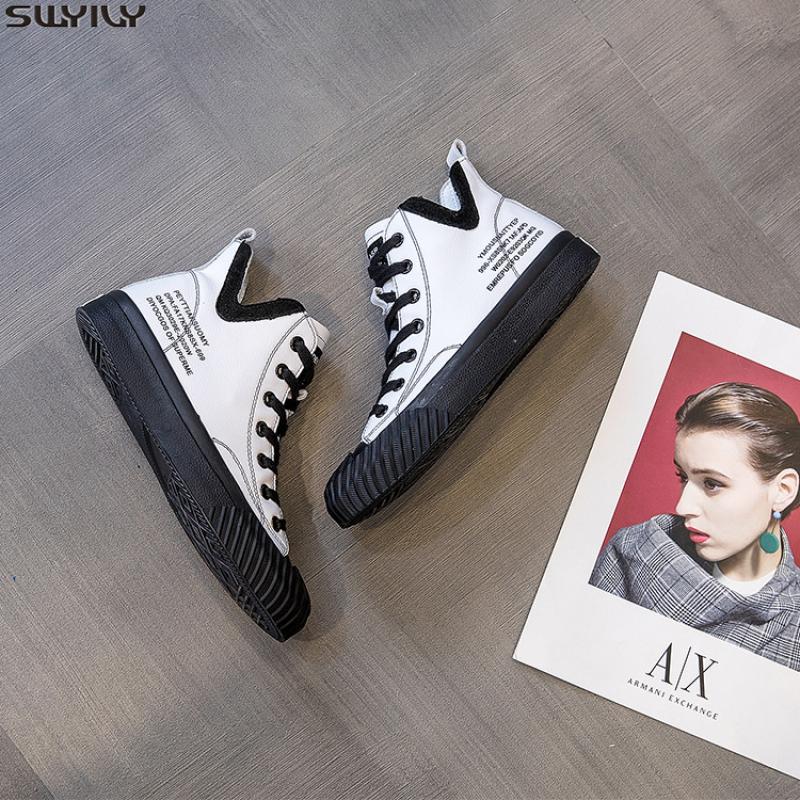 SWYIVY Leather Casual Shoes Women Sneakers Ladies Spring 2020 Ins New High Top White Shoes Woman Chunky Sneakers Fashion Flat