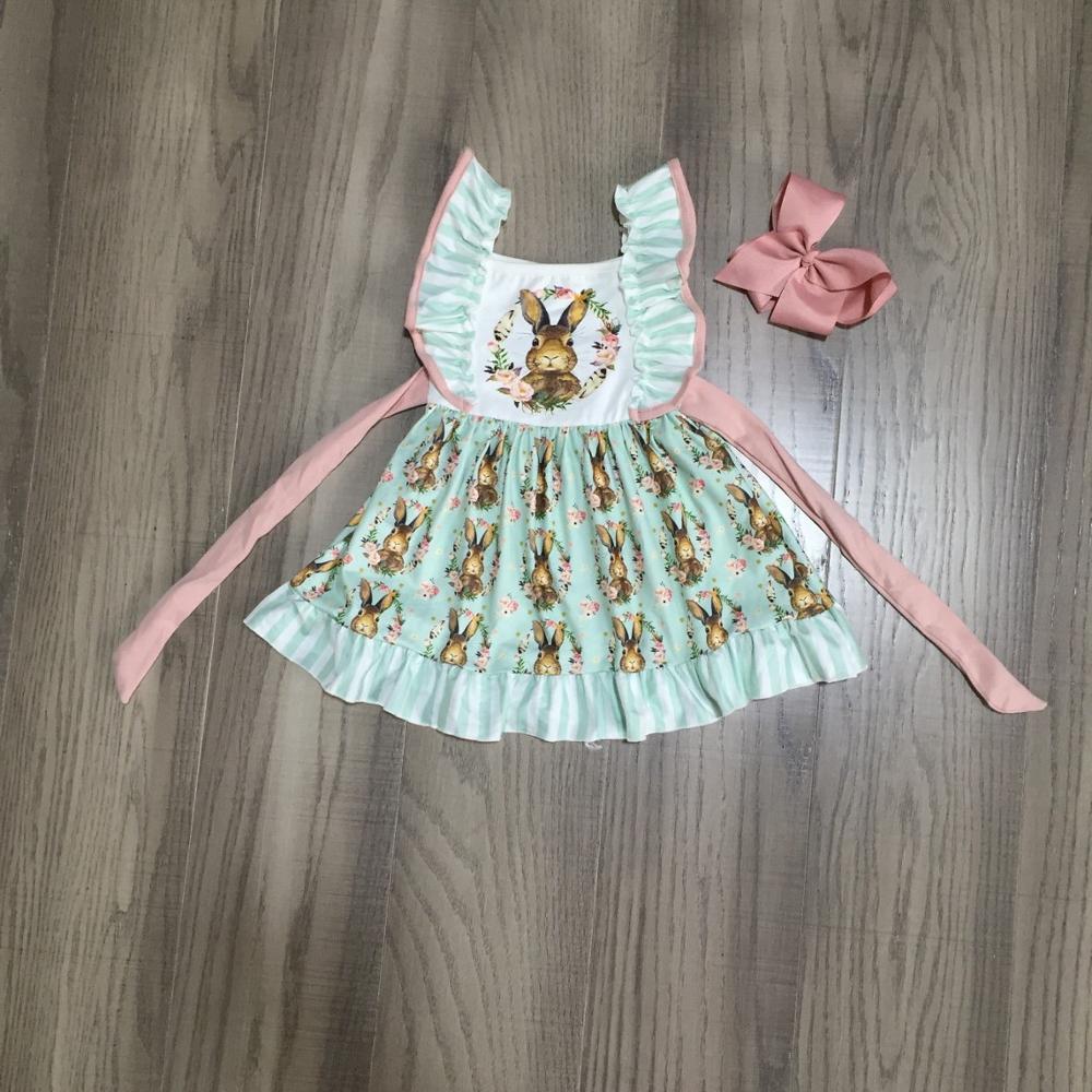 Girlymax Easter Baby Girls Spring Summer Children Clothes Cotton Ruffles Belt Dress Leopard Bunny Floral Knee Length Match Bow 1