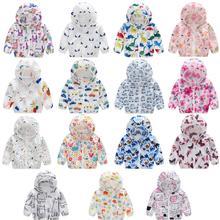 Новое пальто для малышей; детские летние солнцезащитные куртки; ветровка с капюшоном и принтом; Верхняя одежда для новорожденных; пальто для маленьких девочек и мальчиков
